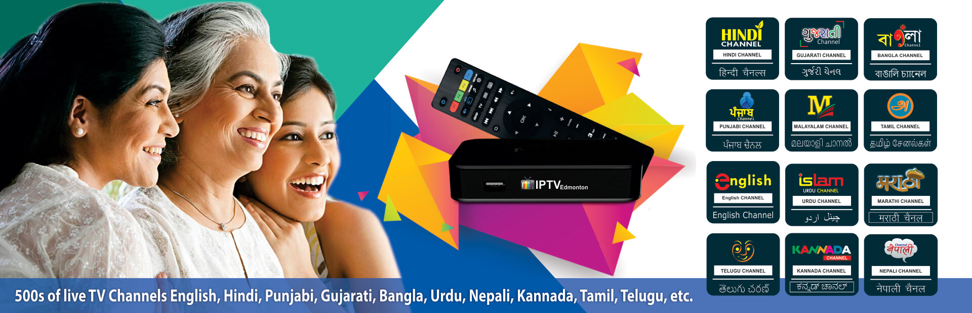 Edmonton IPTV : 500 Live Regional Channels Hindi, Tamil, Malayalam